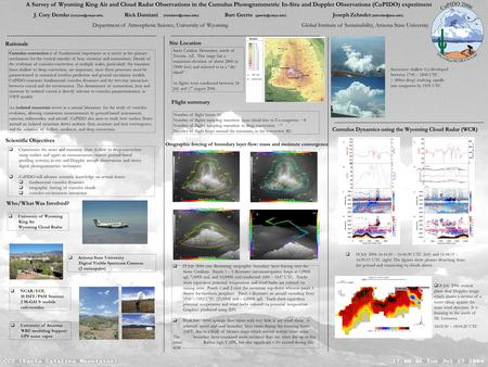 A Survey of Wyoming King Air and Cloud Radar Observations in the Cumulus Photogrammetric In-Situ and Doppler Observations (CuPIDO) experiment J. Cory Demko.