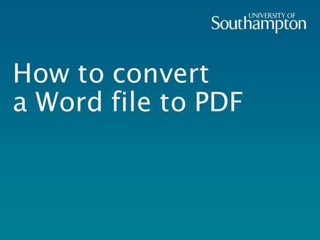 How to convert a Word file to PDF. Log in to an iSolutions workstation and start Adobe Acrobat from the Start menu.