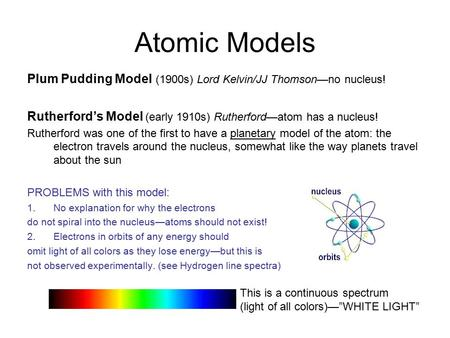 Atomic Models Plum Pudding Model (1900s) Lord Kelvin/JJ Thomson—no nucleus! Rutherford's Model (early 1910s) Rutherford—atom has a nucleus! Rutherford.