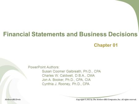 Financial Statements and Business Decisions