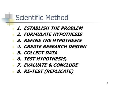 1 Scientific Method 1. ESTABLISH THE PROBLEM 2. FORMULATE HYPOTHESIS 3. REFINE THE HYPOTHESIS 4. CREATE RESEARCH DESIGN 5. COLLECT DATA 6. TEST HYPOTHESIS,