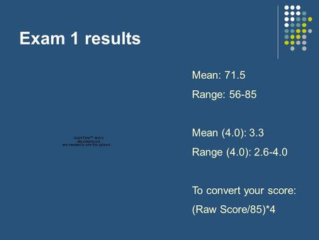 Exam 1 results Mean: 71.5 Range: 56-85 Mean (4.0): 3.3 Range (4.0): 2.6-4.0 To convert your score: (Raw Score/85)*4.