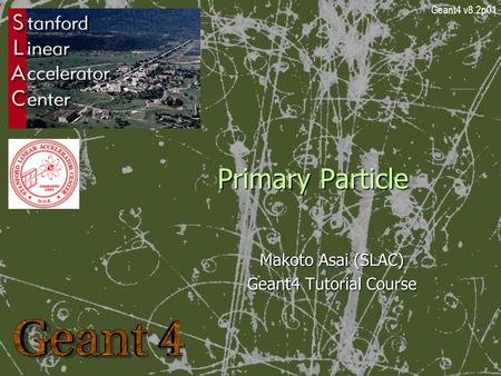 Primary Particle Makoto Asai (SLAC) Geant4 Tutorial Course Geant4 v8.2p01.