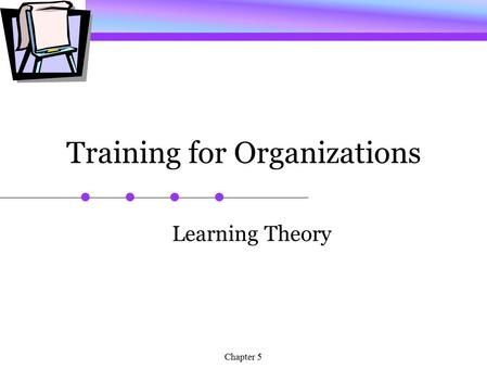 Chapter 5 Training for Organizations Learning Theory.