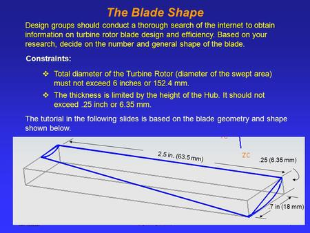 Ken Youssefi Engineering 10, SJSU 1 The Blade Shape Design groups should conduct a thorough search of the internet to obtain information on turbine rotor.