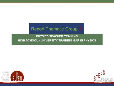 Report Thematic Group 5 PHYSICS TEACHER TRAINING HIGH SCHOOL - UNIVERSITY TRAINING GAP IN PHYSICS.