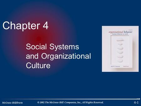 McGraw-Hill/Irwin © 2002 The McGraw-Hill Companies, Inc., All Rights Reserved. 4-1 Chapter 4 Social Systems and Organizational Culture.
