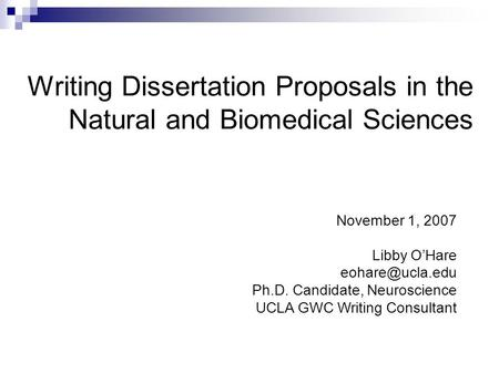 Writing Dissertation Proposals