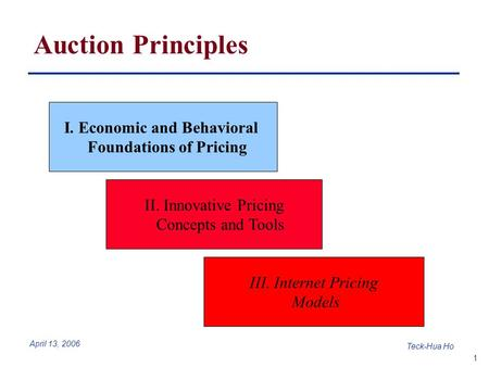 1 Teck-Hua Ho April 13, 2006 Auction Principles I. Economic and Behavioral Foundations of Pricing II. Innovative Pricing Concepts and Tools III. Internet.