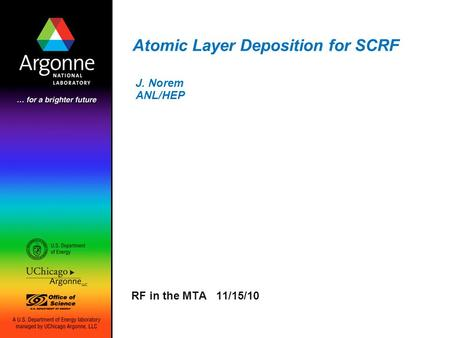 Atomic Layer Deposition for SCRF RF in the MTA 11/15/10 J. Norem ANL/HEP.