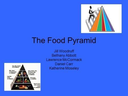 The Food Pyramid Jill Woodruff Bethany Abbott Lawrence McCormack Daniel Carr Katherine Moseley.