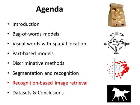Agenda Introduction Bag-of-words models Visual words with spatial location Part-based models Discriminative methods Segmentation and recognition Recognition-based.
