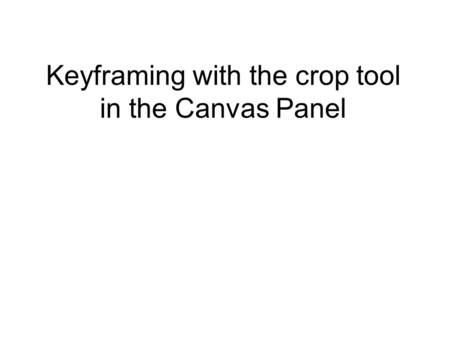 Keyframing with the crop tool in the Canvas Panel.