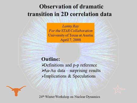 1 Observation of dramatic transition in 2D correlation data Lanny Ray For the STAR Collaboration University of Texas at Austin April 7, 2008 24 th Winter.