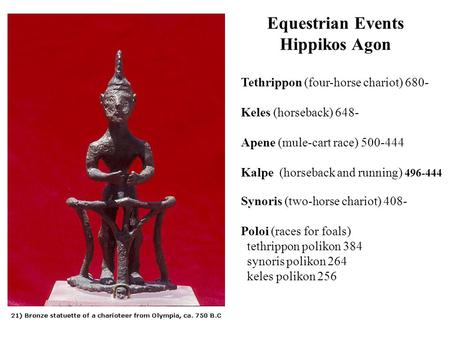 Equestrian Events Hippikos Agon Tethrippon (four-horse chariot) 680- Keles (horseback) 648- Apene (mule-cart race) 500-444 Kalpe (horseback and running)