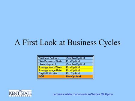 Lectures in Macroeconomics- Charles W. Upton A First Look at Business Cycles.