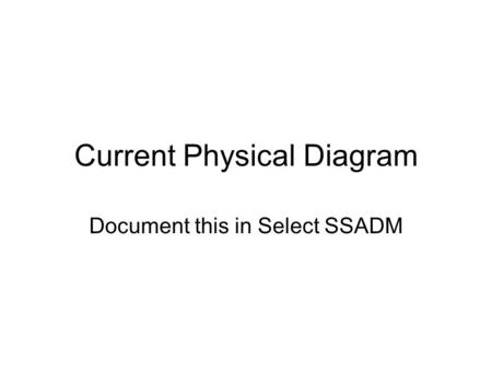 Current Physical Diagram Document this in Select SSADM.