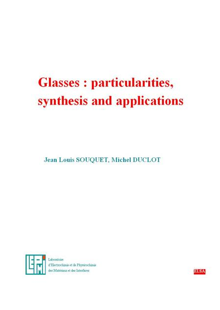 ELECTRICAL PROPERTIES OF GLASSES INORGANIC GLASSES CONDUCTIVITY NATURE AND APPLICATIONS Pure ionic conductivity : Pure electronic conductivity : - demonstrated.