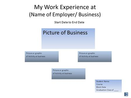 My Work Experience at (Name of Employer/ Business) Picture of Business Picture or graphic of Activity at business Picture or graphic of Activity at business.