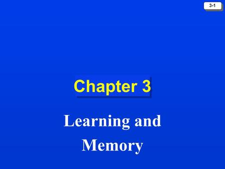 3-1 Chapter 3 Learning and Memory. 3-2 The Learning Process Learning refers to a relatively permanent change in behavior that is caused by experience.