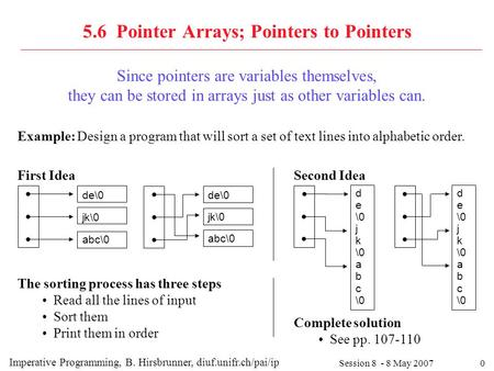 0 5.6 Pointer Arrays; Pointers to Pointers Session 8 - 8 May 2007 Since pointers are variables themselves, they can be stored in arrays just as other variables.