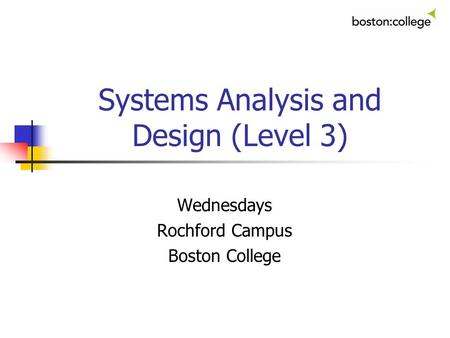 Systems Analysis and Design (Level 3)