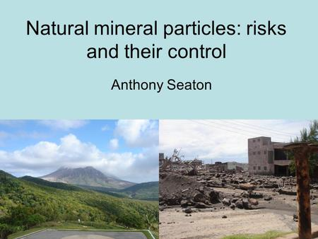 Natural mineral particles: risks and their control Anthony Seaton.
