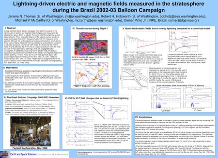 Lightning-driven electric and magnetic fields measured in the stratosphere during the Brazil 2002-03 Balloon Campaign Jeremy N. Thomas (U. of Washington,