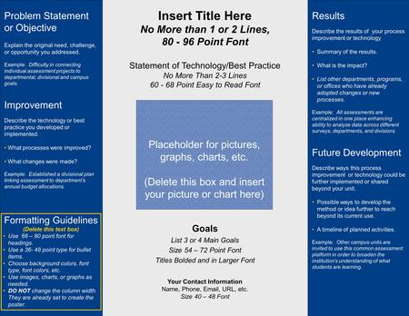 Insert Title Here No More than 1 or 2 Lines, 80 - 96 Point Font Statement of Technology/Best Practice No More Than 2-3 Lines 60 - 68 Point Easy to Read.