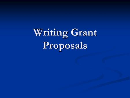 Writing Grant Proposals. I. Cover letter II. Proposal Summary III. Organizational Description IV. Problem Statement V. Project Objectives VI. Methods.
