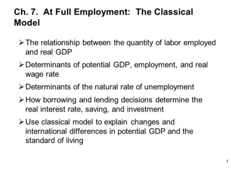 Ch. 7. At Full Employment: The Classical Model  The relationship between the quantity of labor employed and real GDP  Determinants of potential GDP,