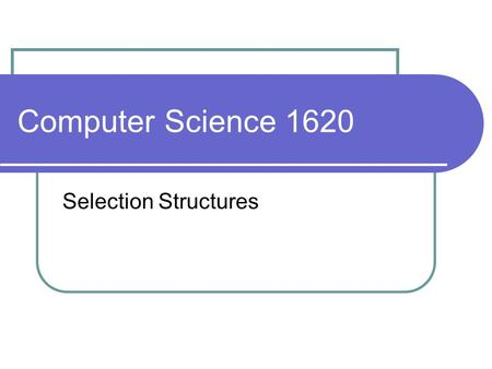 Computer Science 1620 Selection Structures. Write a program that accepts the speed of a vehicle, and determines whether that person is speeding assume.