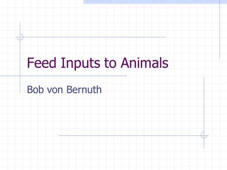 Feed Inputs to Animals Bob von Bernuth. Considerations in a Ration/Diet Energy Proteins & Amino Acids Minerals Vitamins Non-nutritative additives.