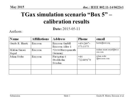 "Submission doc.: IEEE 802.11-14/0623r1 May 2015 Guido R. Hiertz, Ericsson et al.Slide 1 TGax simulation scenario ""Box 5"" – calibration results Date: 2015-05-11."
