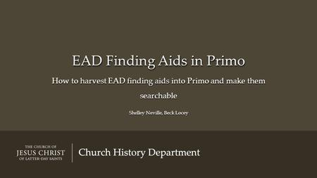 EAD Finding Aids in Primo