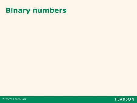 Binary numbers. 1 Humans count using decimal numbers (base 10) We use 10 units: 0, 1, 2, 3, 4, 5, 6, 7, 8 and 9 10 3 10 2 10 1 10 0 1000100101 5049 (5.