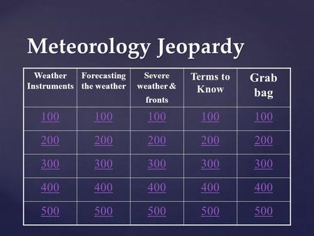 Meteorology Jeopardy Weather Instruments Forecasting the weather Severe weather & fronts Terms to Know Grab bag 100 200 300 400 500.