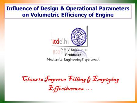 Influence of Design & Operational Parameters on Volumetric Efficiency of Engine P M V Subbarao Professor Mechanical Engineering Department Clues to Improve.