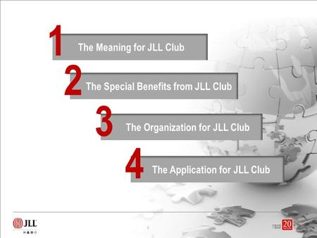 The Meaning for JLL Club The Special Benefits from JLL Club 2 The Organization for JLL Club 3 1 The Application for JLL Club 4 0.