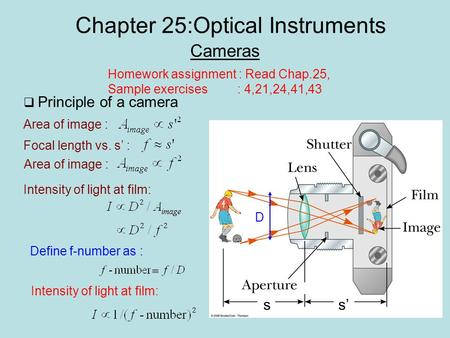 Chapter 25:Optical Instruments Cameras Homework assignment : Read Chap.25, Sample exercises : 4,21,24,41,43  Principle of a camera ss' D Intensity of.