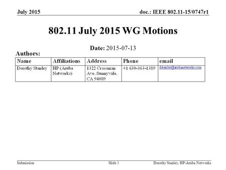 Doc.: IEEE 802.11-15/0747r1 Submission July 2015 802.11 July 2015 WG Motions Date: 2015-07-13 Authors: Dorothy Stanley, HP-Aruba NetworksSlide 1.