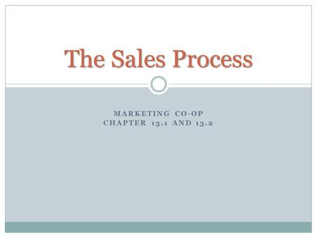 Marketing Co-op Chapter 13.1 and 13.2