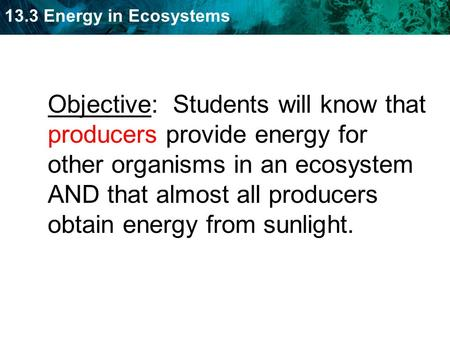 13.3 Energy in Ecosystems Objective: Students will know that producers provide energy for other organisms in an ecosystem AND that almost all producers.
