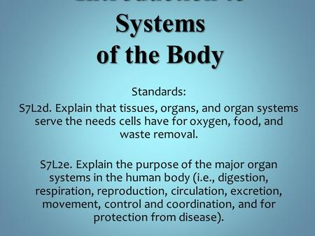 Introduction to Systems of the Body