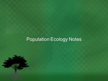 Population Ecology Notes
