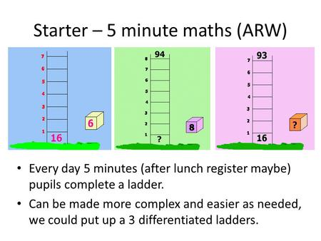 Starter – 5 minute maths (ARW) Every day 5 minutes (after lunch register maybe) pupils complete a ladder. Can be made more complex and easier as needed,