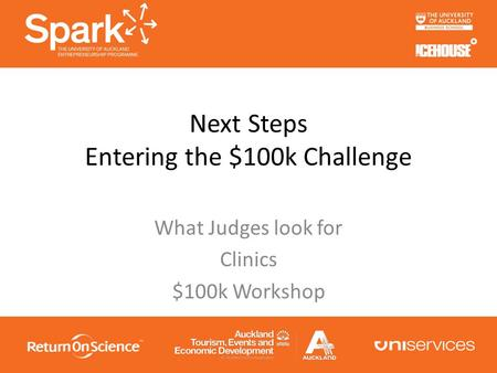 Next Steps Entering the $100k Challenge What Judges look for Clinics $100k Workshop.