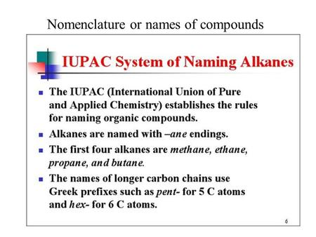 Nomenclature or names of compounds Alkanes. Nomenclature or names of compounds Alkanes.