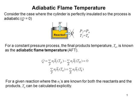 1 Adiabatic Flame Temperature Reaction Q W P 2 =P a T 2 =T a Consider the case where the cylinder is perfectly insulated so the process is adiabatic (