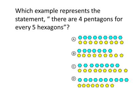 "Which example represents the statement, "" there are 4 pentagons for every 5 hexagons""?"